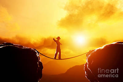 Man In Hat Walking On Rope Over Mountains Art Print