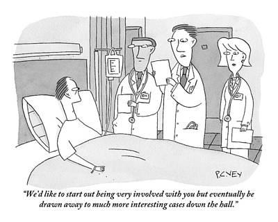 Man In Hospital Bed Speaking To Three Doctors Art Print