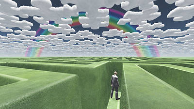 Man In Maze With Puzzle Clouds Art Print by Bruce Rolff