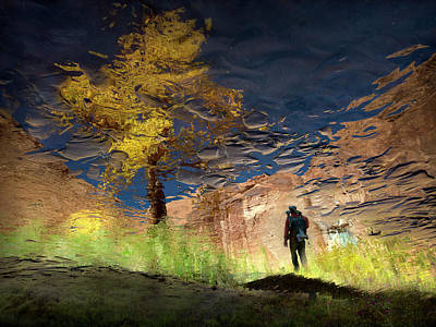 Man In Nature - Into The Canyon Art Print