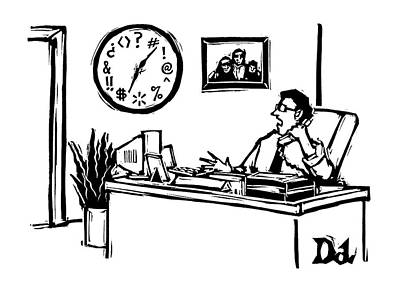 Man In Office Looking At A Clock And The Numbers Art Print by Drew Dernavich