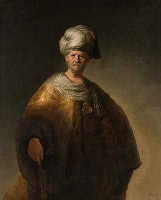 Slav Painting - Man In Oriental Costume by Rembrandt van Rijn
