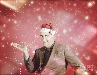 Man In Santa Hat Displaying Christmas Copyspace Art Print