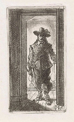 Seventeenth Century Drawing - Man In Seventeenth Century Dress, Standing In A Doorway by Jan Gerard Smits