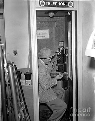 Photograph - Man In Telephone Booth Circa 1955 by California Views Archives Mr Pat Hathaway Archives