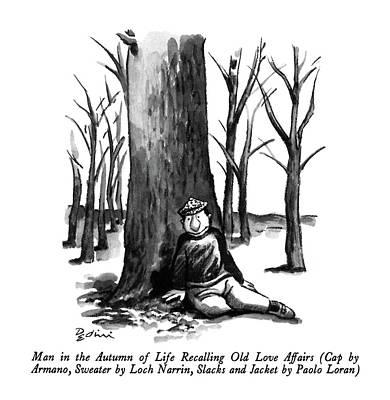 Man In The Autumn Of Life Recalling Old Love Art Print by Eldon Dedini