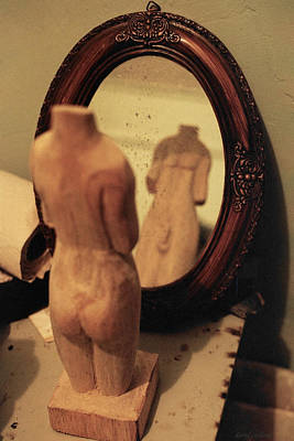 Wide Angled Glass Mirror Photograph - Man In The Mirror by David  Cardona