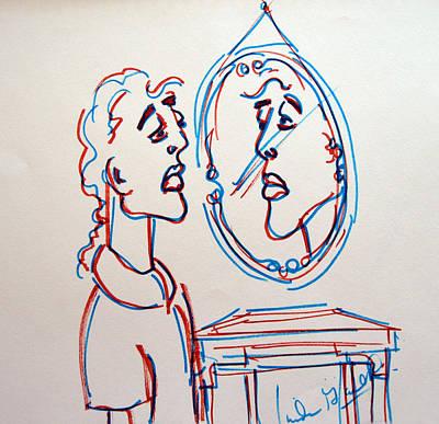 Man In The Mirror Art Print by Linda Gail