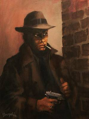Pulp Magazines Painting - Man In The Shadows by Tom Shropshire
