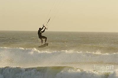 Man Kitesurfing On High Waves Art Print by Sami Sarkis