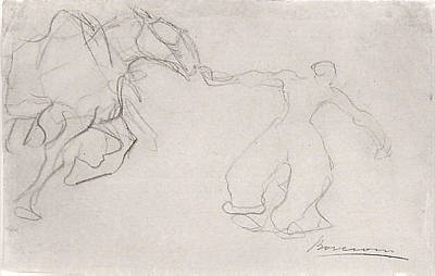 Umberto Drawing - Man Leading A Horse by Umberto Boccioni