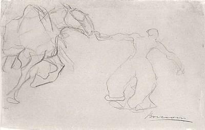 Umberto Boccioni Drawing - Man Leading A Horse by Umberto Boccioni