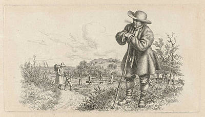 Old Country Roads Drawing - Man Leaning On A Stick And A Woman With A Child by Artokoloro