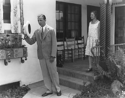 San Gabriel Photograph - Man Leaving His House by Underwood Archives