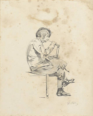 Loon Drawing - Man Lighting His Pipe, Pieter Van Loon by Quint Lox