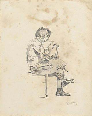 Man Lighting His Pipe, Pieter Van Loon Art Print