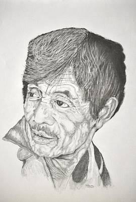 Drawing - Man Looking Back by Glenn Calloway