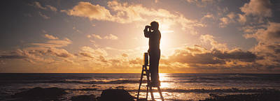 Binoculars Photograph - Man Looking Through Binoculars In by Panoramic Images