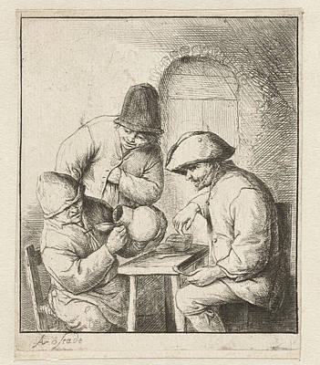 Man Looks Into Empty Jug, Two Men Watch, Adriaen Van Ostade Art Print