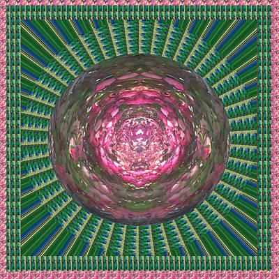 Mixed Media - Man Made Jewel Theme Green Wheel Chakra Mandala A Tool For Healing Yoga Meditation Spiritual And Lea by Navin Joshi