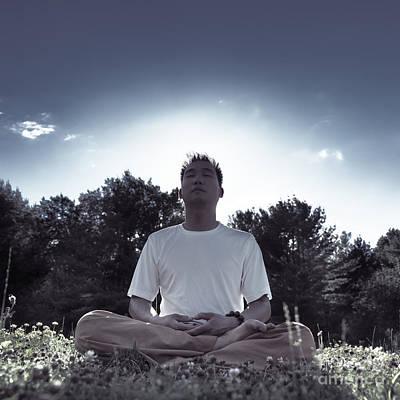 Man Meditating In The Nature During Sunrise Art Print