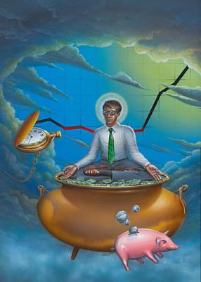 Man Meditating On Pot Of Gold - Time - Art - Illustration - Money - Wallstreet  Art Print by Walt Curlee