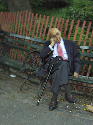 Photograph - Man Napping In Central Park by Esther Newman-Cohen