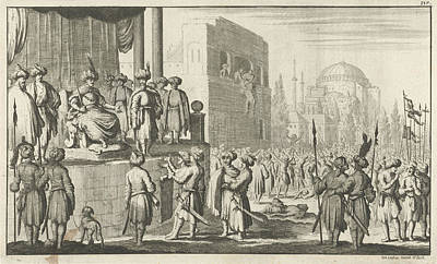 Man Negotiates On Throne With The Leaders Of The Rebellious Art Print by Jan Luyken