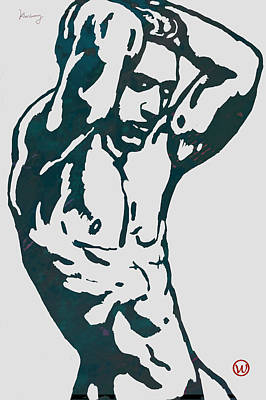 Man Nude Pop Stylised Etching Art Poster  Art Print by Kim Wang