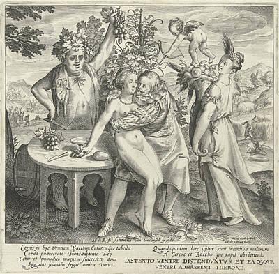 Man Nurtures Love With Wine And Bread, Print Maker Nicolaes Art Print by Nicolaes De Bruyn And Assuerus Van Londerseel