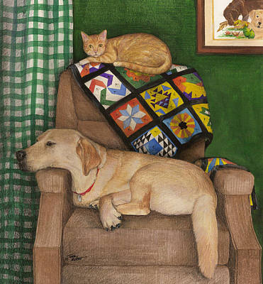 Painting - Man Of The House-yellow Lab by Terry Albert