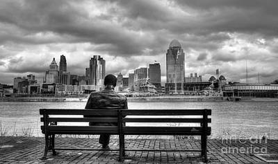 White River Scene Photograph - Man On A Bench by Mel Steinhauer