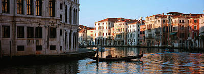 Man On A Gondola In A Canal, Grand Art Print by Panoramic Images