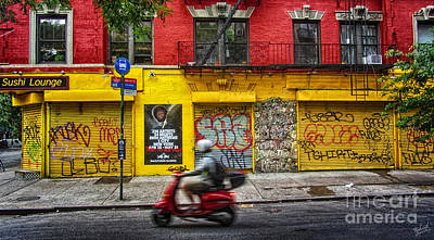 Stop Sign Photograph - Man On A Moped Passing By The Red And Yellow Buiding by Nishanth Gopinathan