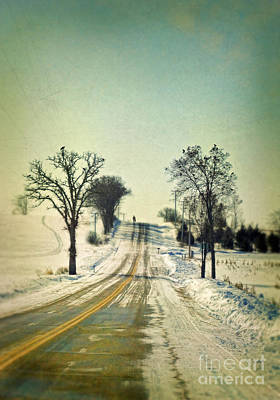 Telephone Poles Photograph - Man On A Rural Winter Road by Jill Battaglia