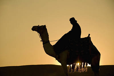 Man On Camel At Dusk Near The Pyramids Art Print by Ian Cumming