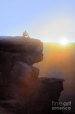 Photograph - Man On Cliff At Sunset by Jill Battaglia