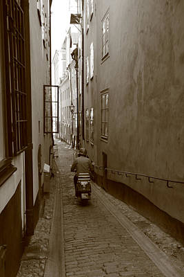 Man On Motor Scooter In A Narrow Alley - Monochrome Art Print by Ulrich Kunst And Bettina Scheidulin