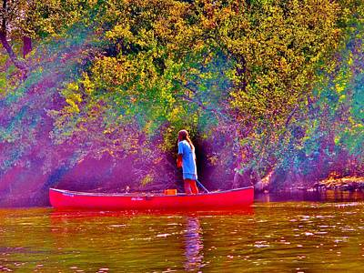 Man On River Art Print by Hominy Valley Photography