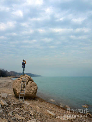 Photograph - Man On Rock Looking Out To Sea by Jill Battaglia