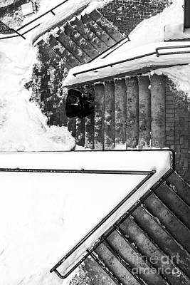 Staircase Photograph - Man On Staircase Concord New Hampshire 2015 by Edward Fielding