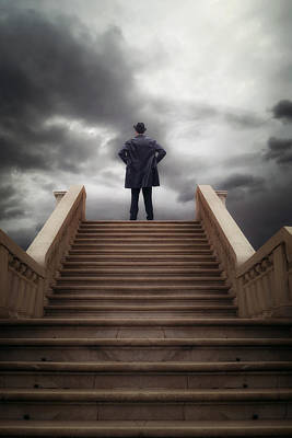 Black Jacket Photograph - Man On Stairs by Joana Kruse
