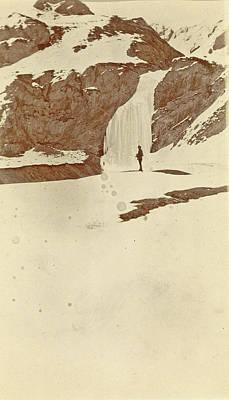Man On The Frozen Waterfall Dota, Tibet Art Print by Artokoloro
