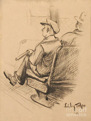 Drawing - Man On The L Train -1941 by Art By Tolpo Collection
