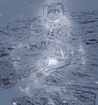 Astronauts Digital Art - Man On The Moon by Dan Sproul