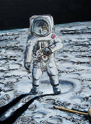 Moon Walk Painting - Man On The Moon by Mitchell McClenney