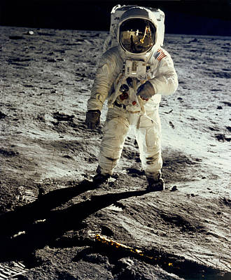 Astronomy Photograph - Man On The Moon by Neil Armstrong/Underwood Archive