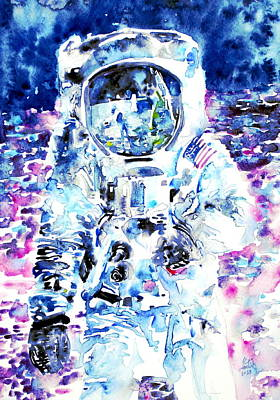 Neil Painting - Man On The Moon - Watercolor Portrait by Fabrizio Cassetta