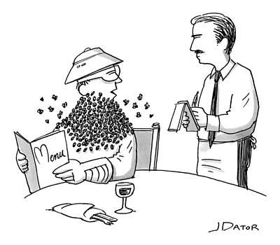 Man Ordering At A Restaurant Art Print