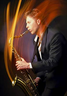 Saxophone Photograph - Man Playing Saxophone by Darren Greenwood